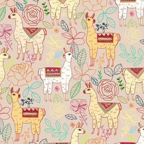 Mexican Llamas With Plants On Beige