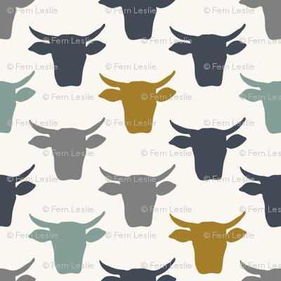 Cow Heads -  Denim, Blue, Mustard, H White
