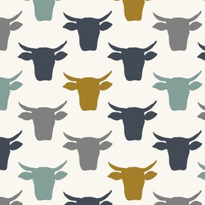 Cow Heads -  Denim, Blue, Mustard, H White