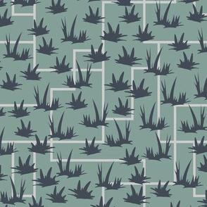 Grass Grid - Blue Denim