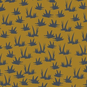 Grass Grid - Denim Mustard