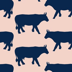Cow Side Silhouette - Pink, Navy