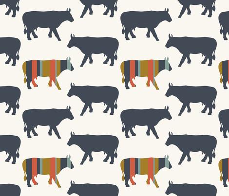 Cow Side - Multi, Denim, H White fabric by fernlesliestudio on Spoonflower - custom fabric