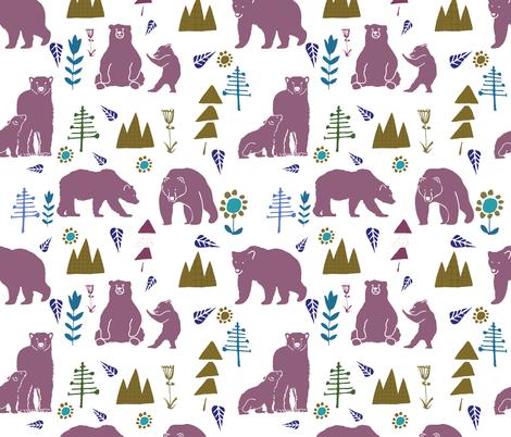 bear and baby bear rose fabric by bruxamagica on Spoonflower - custom fabric