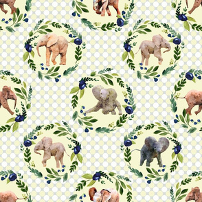 Watercolor Baby Elephants with Floral Wreaths