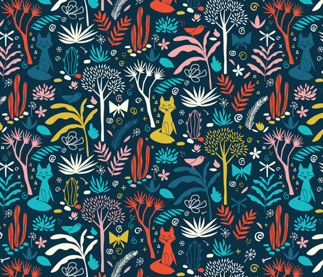 Night in the forrest fabric by natalia_gonzalez on Spoonflower - custom fabric