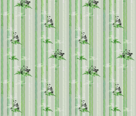 Pandas On Bamboo fabric by notbrownplaid on Spoonflower - custom fabric