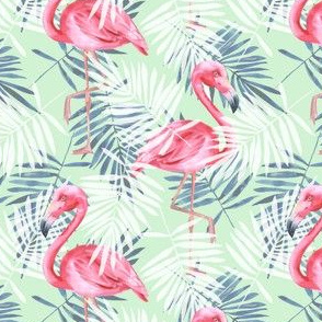 Tropical pattern with flamingos