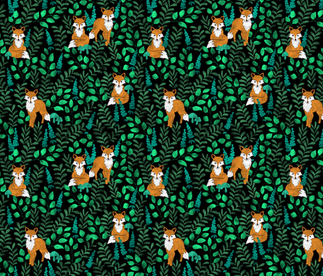 Red Foxes (Black) fabric by boissindesign on Spoonflower - custom fabric