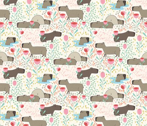 Lazy capybaras in the meadow fabric by lahna_winter on Spoonflower - custom fabric