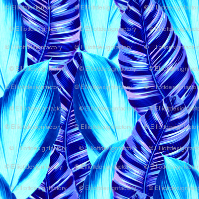Retro Tropical Leaves in Blue