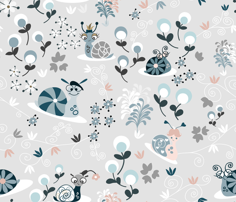 Silly Snails fabric by paula_ohreen_designs on Spoonflower - custom fabric