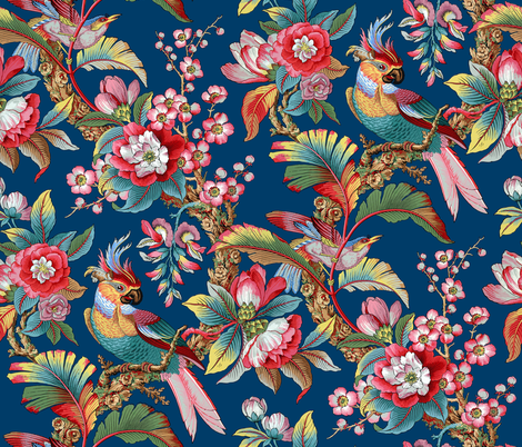Edwardian Parrot ~ Bright on Lonely Angel ~ Large  fabric by peacoquettedesigns on Spoonflower - custom fabric