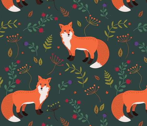 Foxes fabric by olgart on Spoonflower - custom fabric