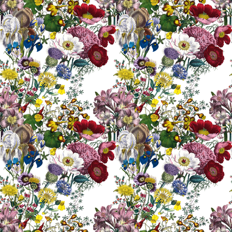 Bloomin' Lovely! ~ Bright ~ Doll Scale    fabric by peacoquettedesigns on Spoonflower - custom fabric