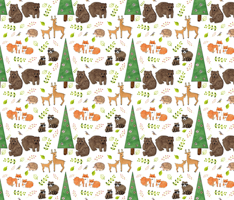 Woodland Animals fabric by dreamoutloudart on Spoonflower - custom fabric