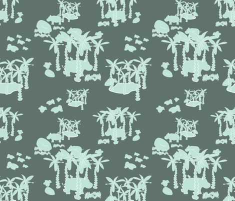 hippo and bird rapport-01 fabric by arrpdesign on Spoonflower - custom fabric
