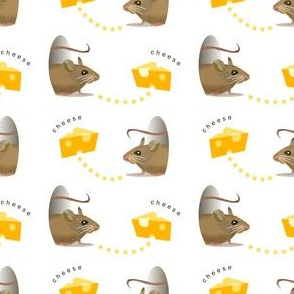 Hazel Brown Mice with Cheese, Kitchen Towel, Rodents, Small Mammals