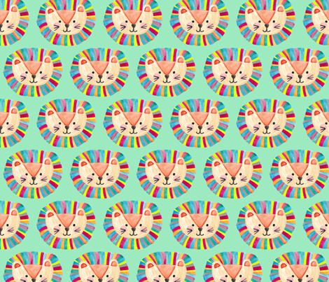 Happy Little Lion by Gabrielle Cave fabric by gcave on Spoonflower - custom fabric