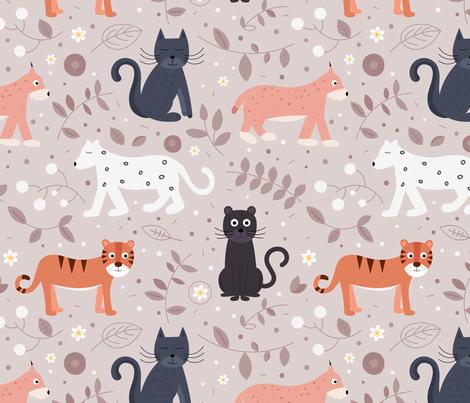 felidae fabric by la_fabriken on Spoonflower - custom fabric