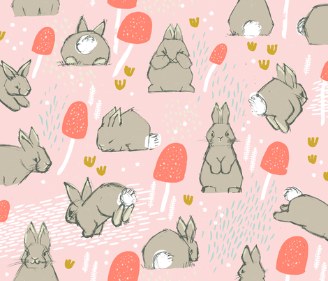 Cottontail Rabbit Kits M+M Icing by Friztin fabric by friztin on Spoonflower - custom fabric