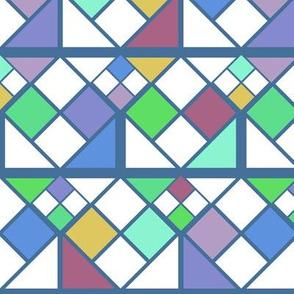Geometric Rubiks Cube Digital Block Pattern - Blue/Purple