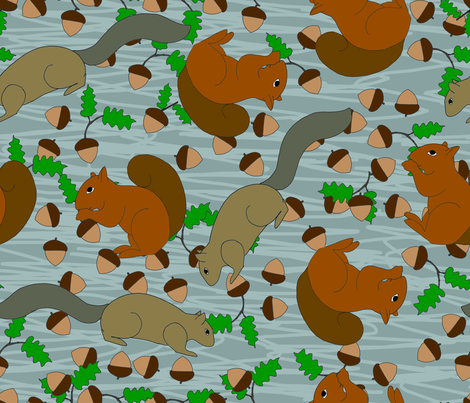 squirrels fabric by fanciful_whimsy on Spoonflower - custom fabric