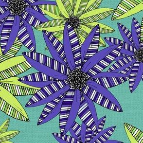 Blue and Green Striped Sketch Pop-Art Flowers Pattern