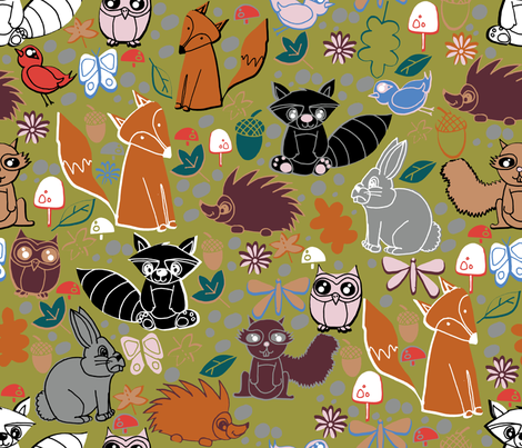 woodland animals fabric by craftwithcartwright on Spoonflower - custom fabric