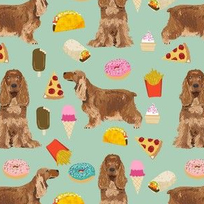 cocker spaniel junk food dog breed fabric mint