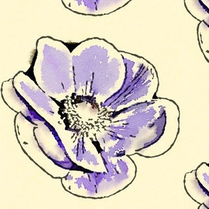 Purple Watercolor Anemone