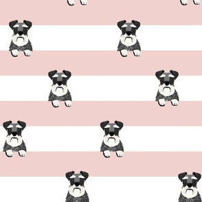 schnauzer stripes pink and white dog breed fabric