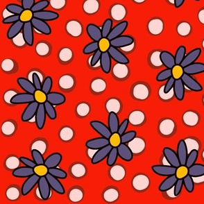 Daisies and dots: Steel and Red