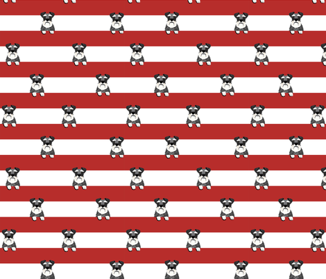 schnauzer stripes red and white dog breed fabric  fabric by petfriendly on Spoonflower - custom fabric