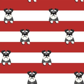 schnauzer stripes red and white dog breed fabric