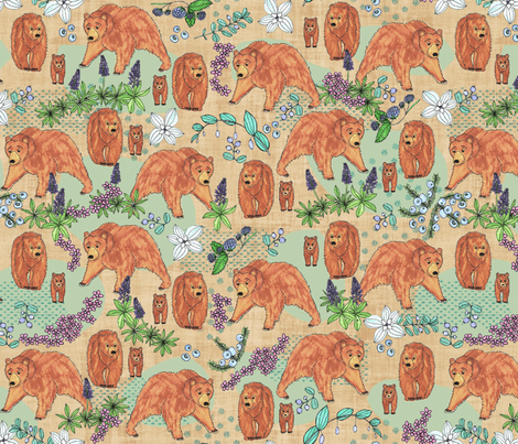 A Bear in his habitat, XL fabric by palifino on Spoonflower - custom fabric