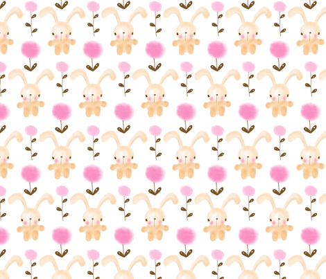 Fluffy  Bunnies fabric by karapeters on Spoonflower - custom fabric