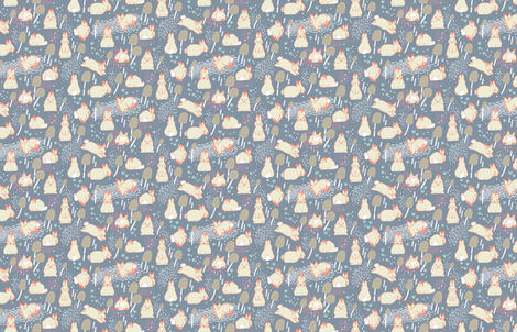 Cottontail Rabbit Kits M+M Smoke by Friztin fabric by friztin on Spoonflower - custom fabric