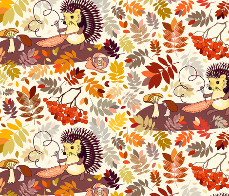 Hedgehog and snail fabric by dina's_natural_avenue on Spoonflower - custom fabric