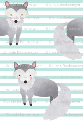 Wolf,  Crystal Mint Stripe – Woodland Animals Baby Design, Ginger Lous