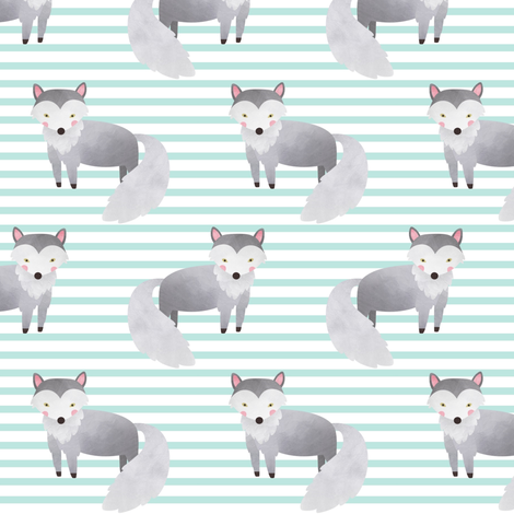Wolf,  Crystal Mint Stripe – Woodland Animals Baby Design, Ginger Lous fabric by gingerlous on Spoonflower - custom fabric