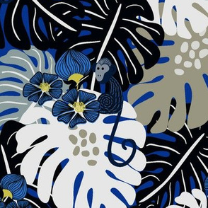 Monkey Forest - bright blue and neutrals