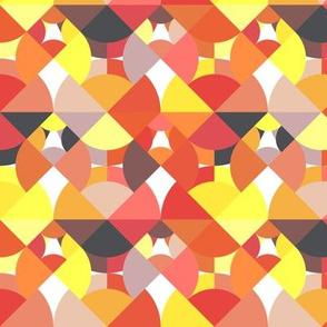 Geometric Circle Segments Digital Pattern - Red