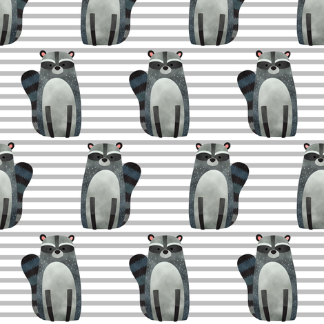 Raccoon,  Grey Stripe – Woodland Animals Baby Design, Ginger Lous fabric by gingerlous on Spoonflower - custom fabric