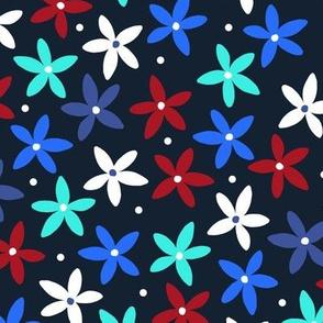 Simple Scandinavian Folk Art Floral Pattern   Winter Red & Blue
