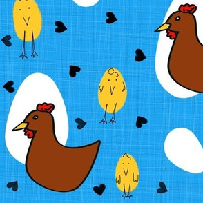 Chicken or Egg? Brown Chicken on Textured Blue