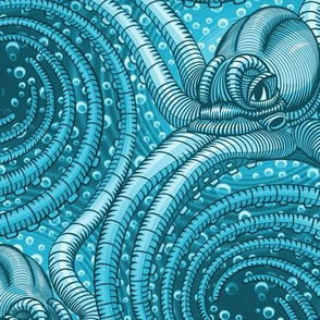 ★ KRAKEN ' ROLL ★ Monochrome Teal Blue - Large Scale / Collection : Kraken ' Roll – Steampunk Octopus Print