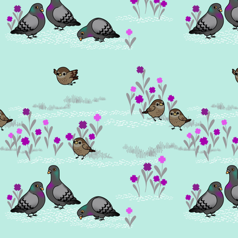 Sparrows and Pigeons fabric by abbieuproot on Spoonflower - custom fabric