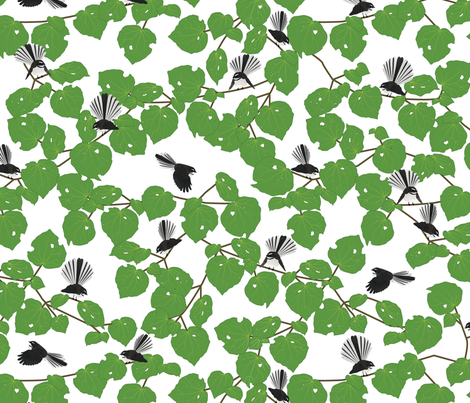 Kawakawa with Pīwakawaka fabric by plumbilly on Spoonflower - custom fabric