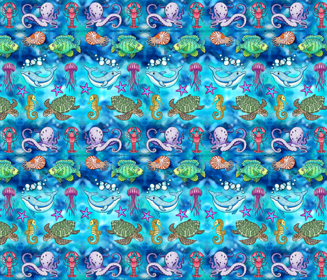 Ocean Animals Galore fabric by de_zigns on Spoonflower - custom fabric
